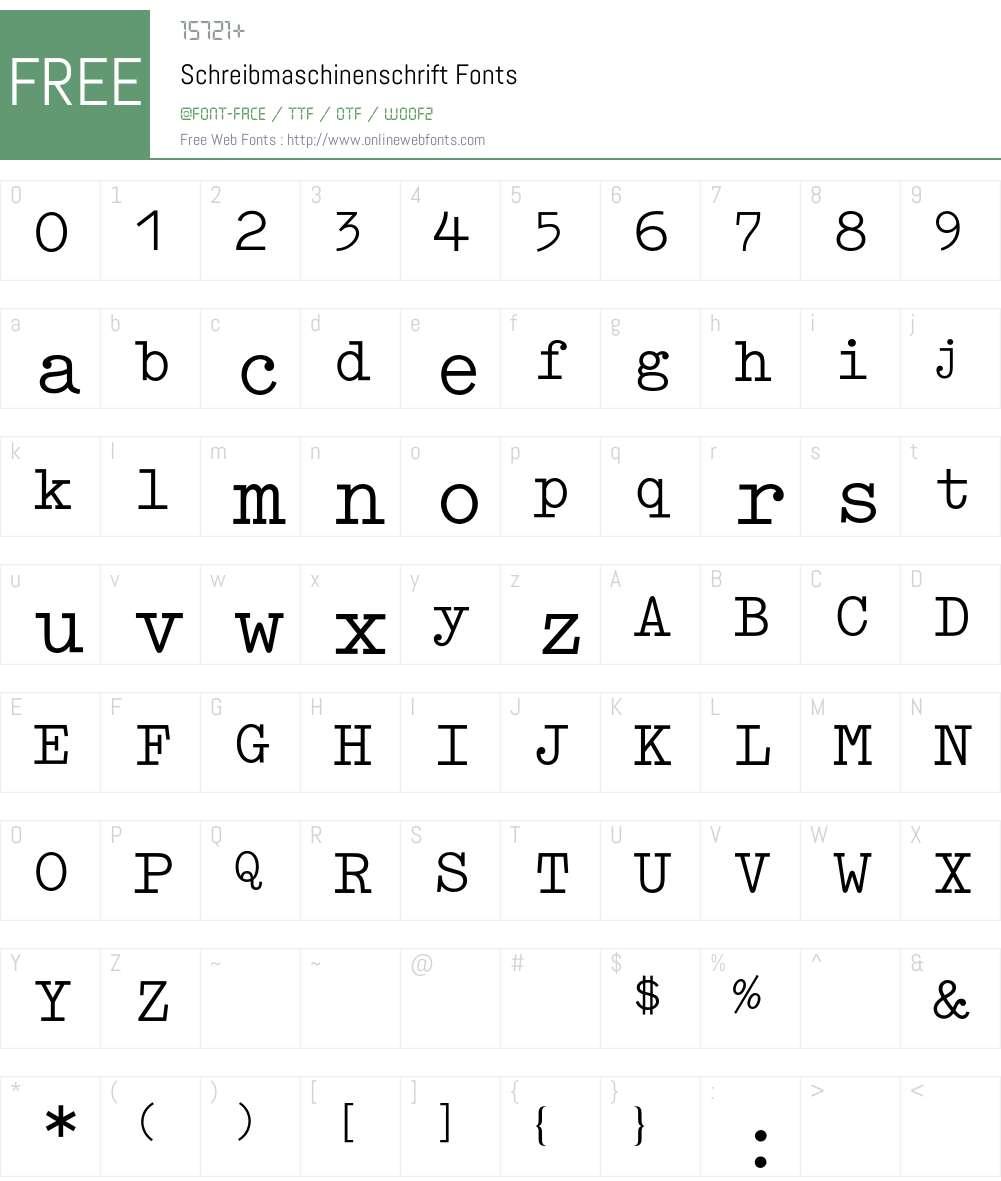 Schreibmaschinenschrift BQ Font Screenshots