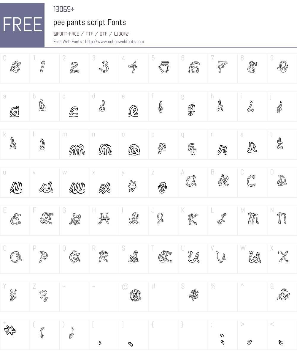 pee pants script Font Screenshots