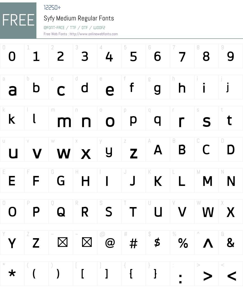 Syfy Medium Font Screenshots