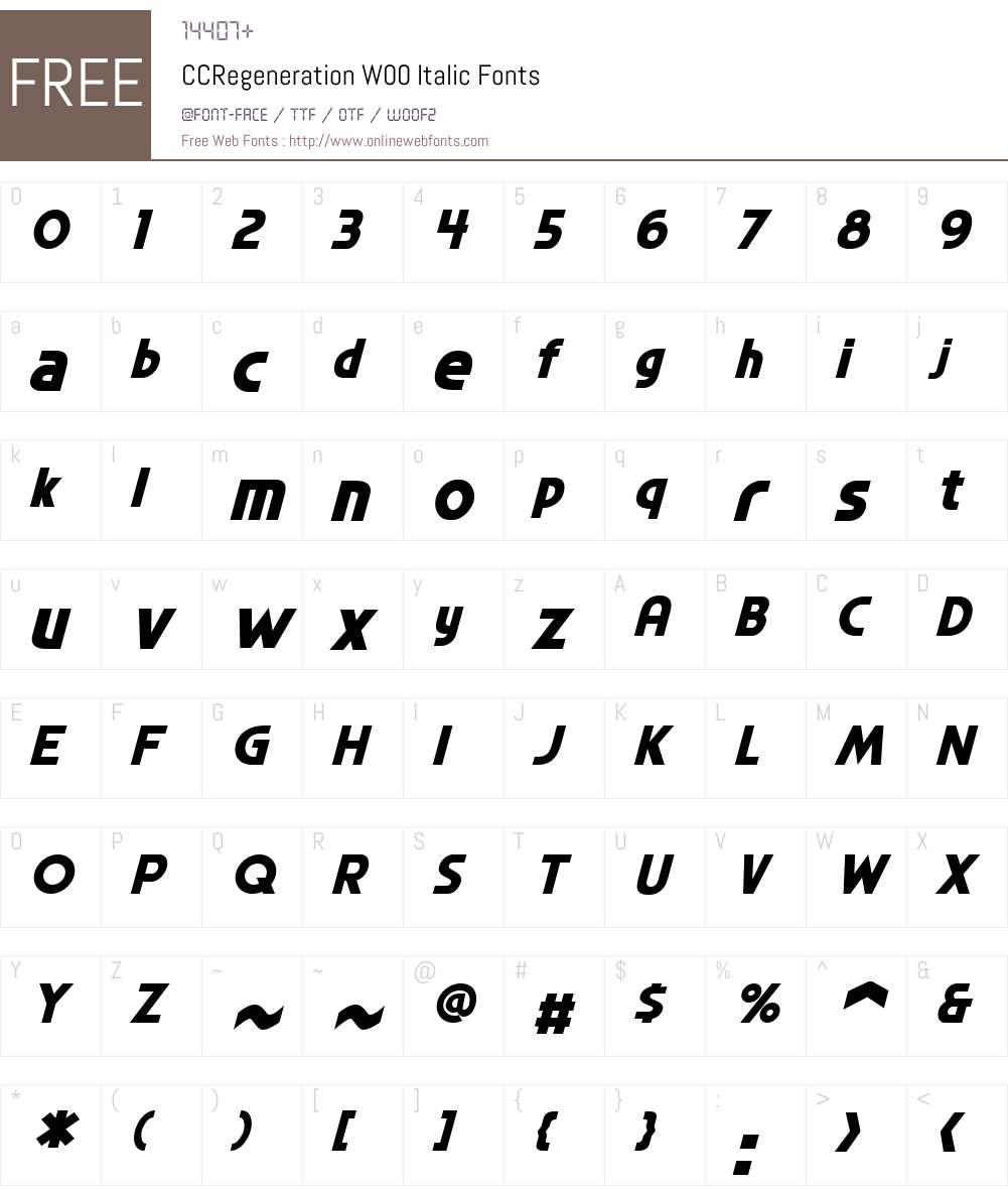 CCRegenerationW00-Italic Font Screenshots