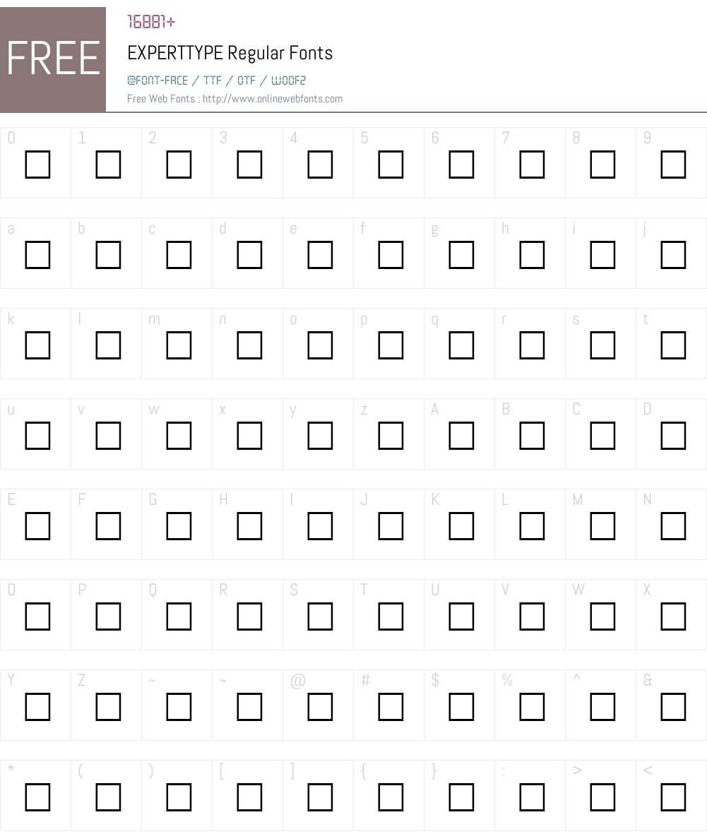 EXPERTTYPE Font Screenshots