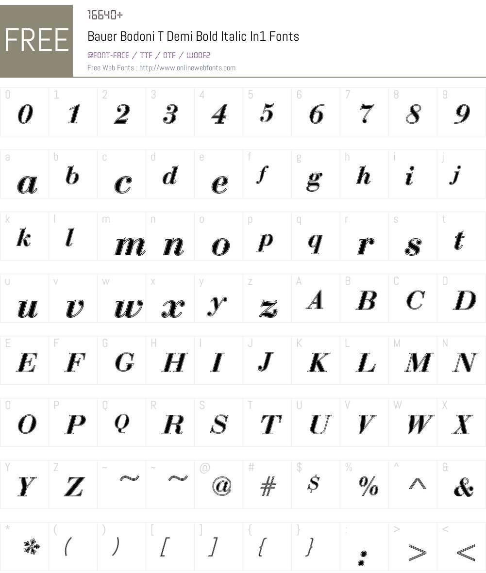 Bauer Bodoni T In1 Font Screenshots