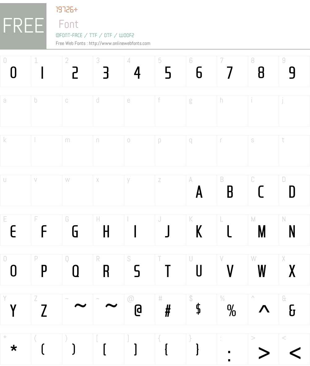 HandelGothicCompressDW-Lt Font Screenshots