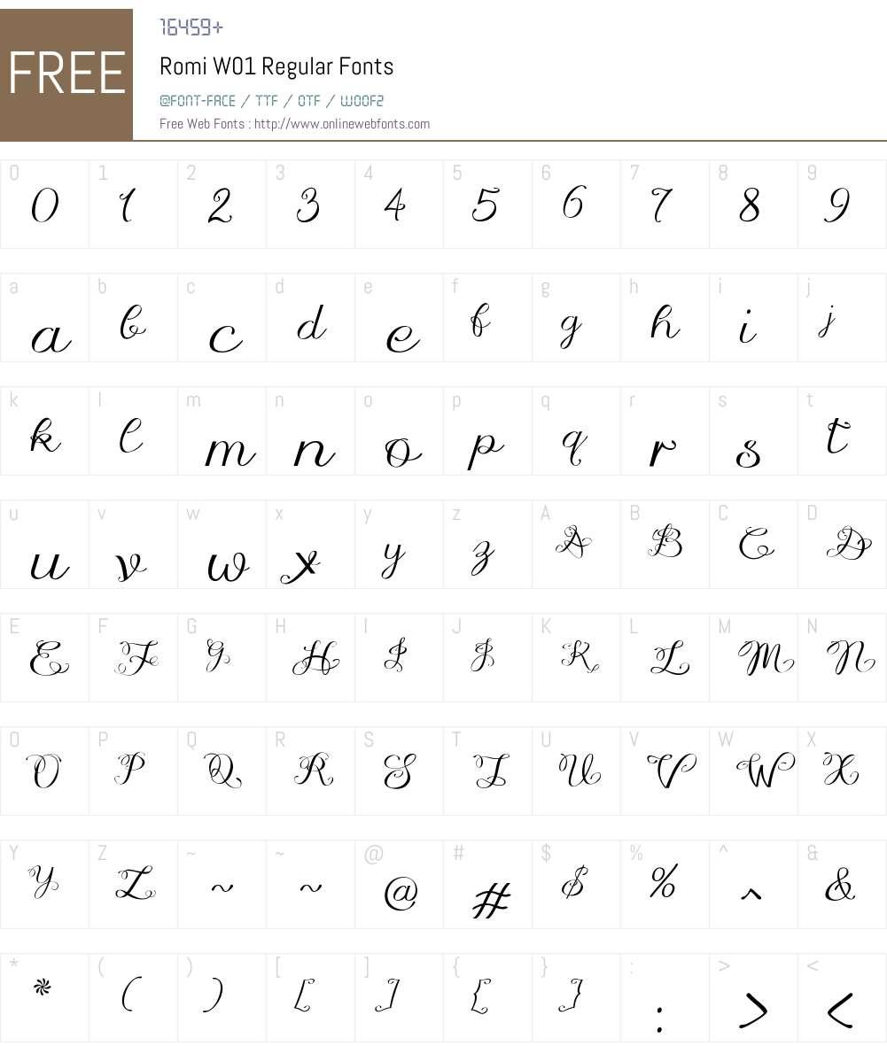 RomiW01-Regular Font Screenshots
