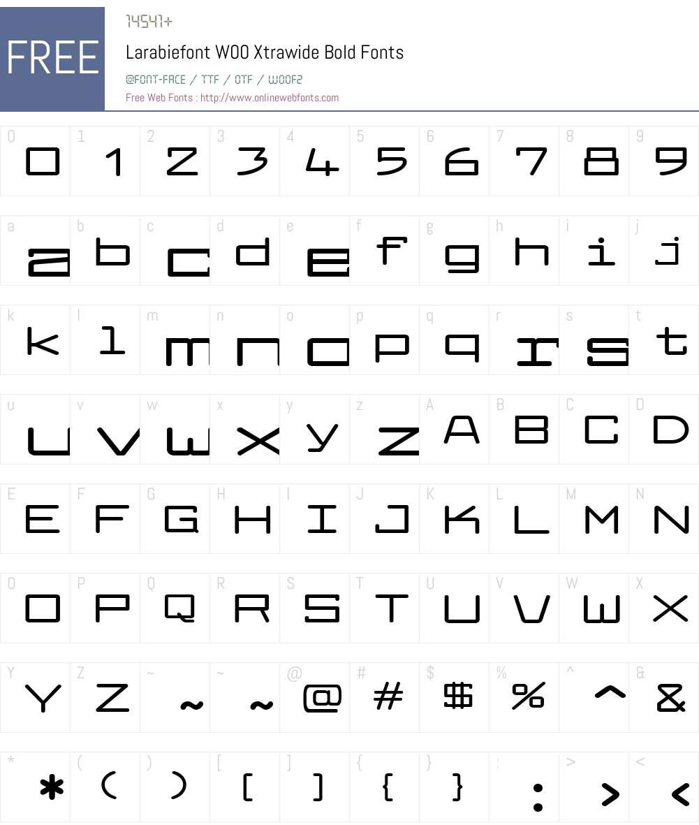 LarabiefontW00-XtrawideBd Font Screenshots
