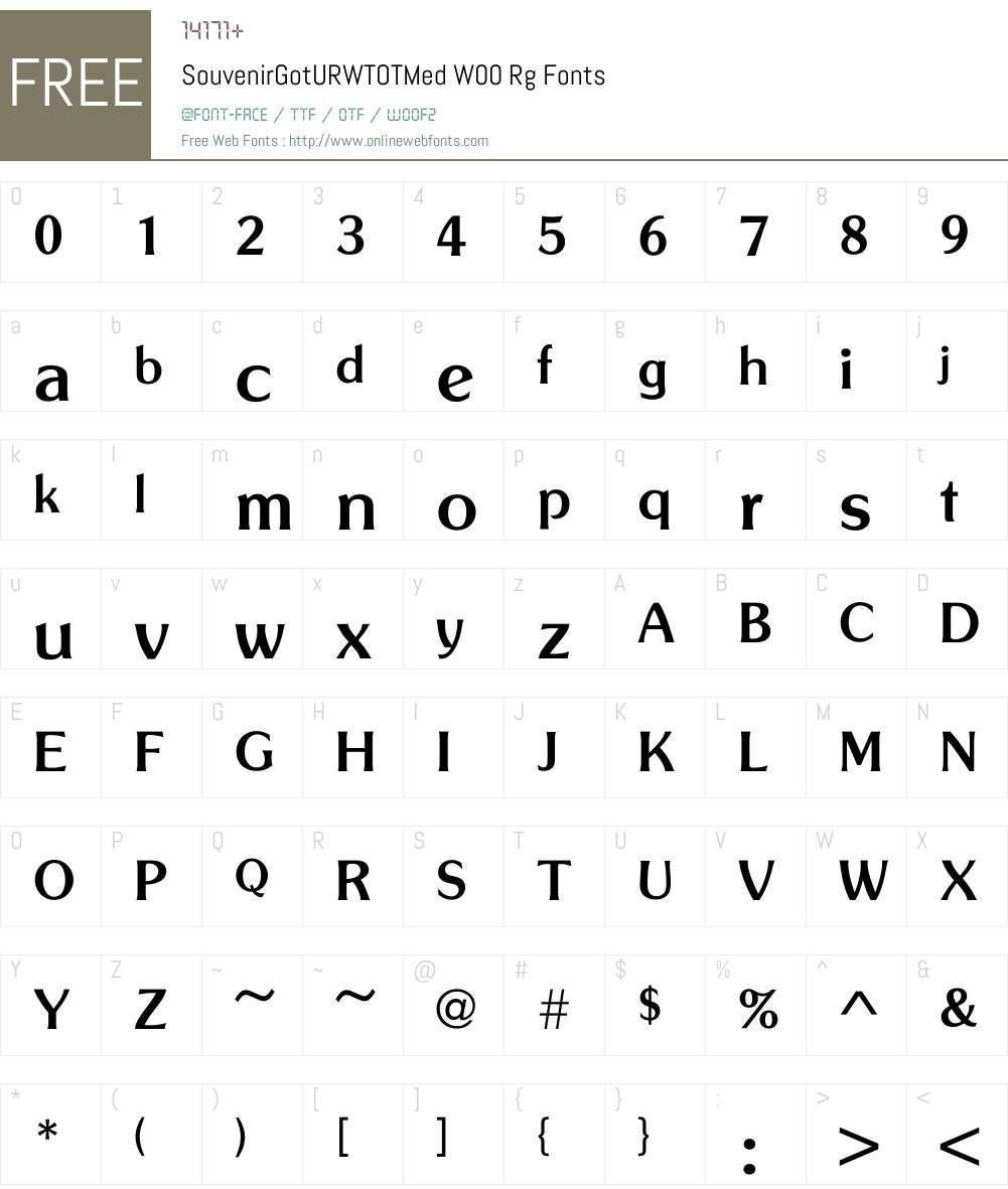 SouvenirGotURWTOTMedW00-Rg Font Screenshots