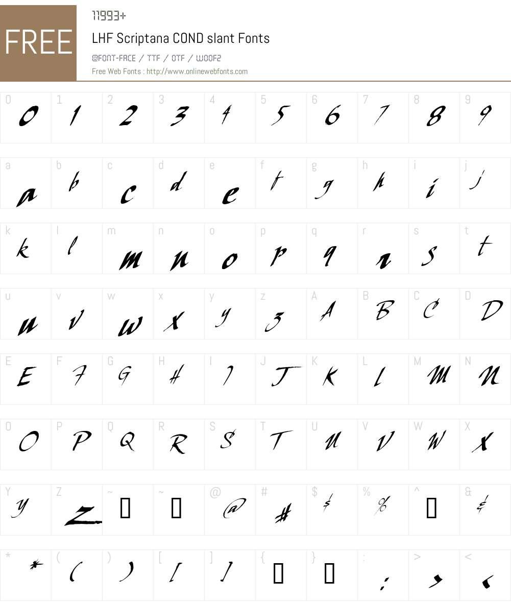 LHF Scriptana COND slant Font Screenshots