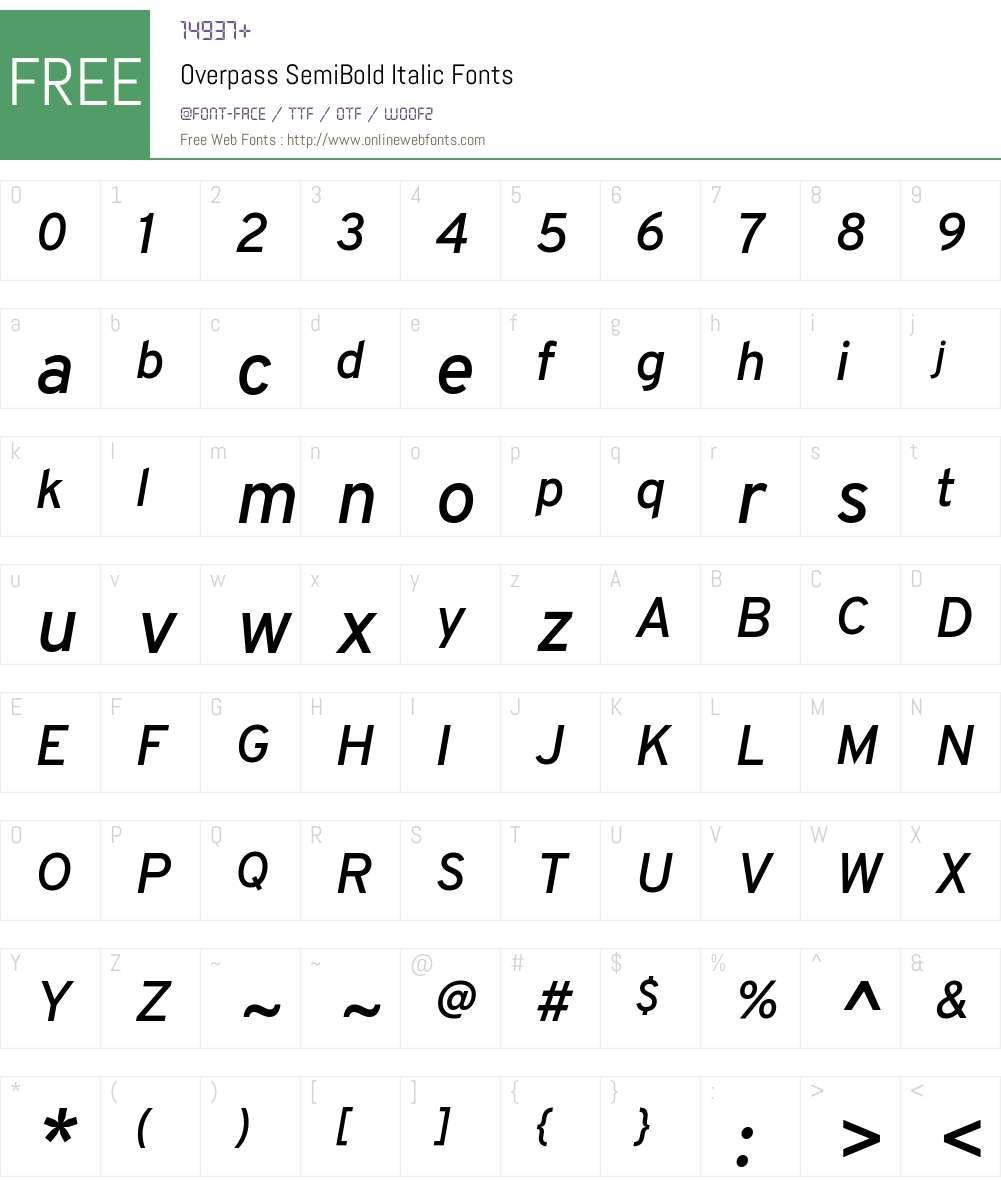 Overpass SemiBold Font Screenshots