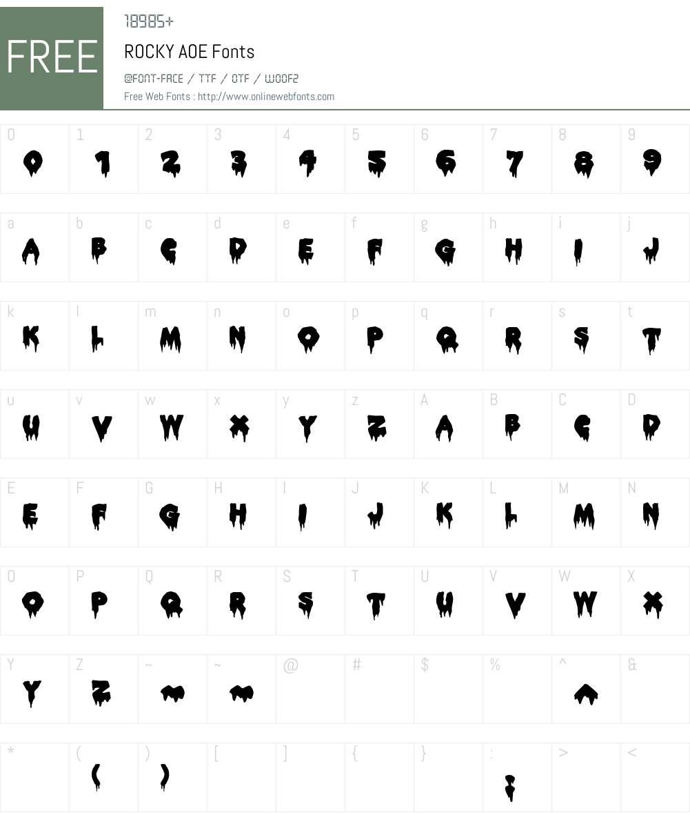 ROCKY AOE Font Screenshots