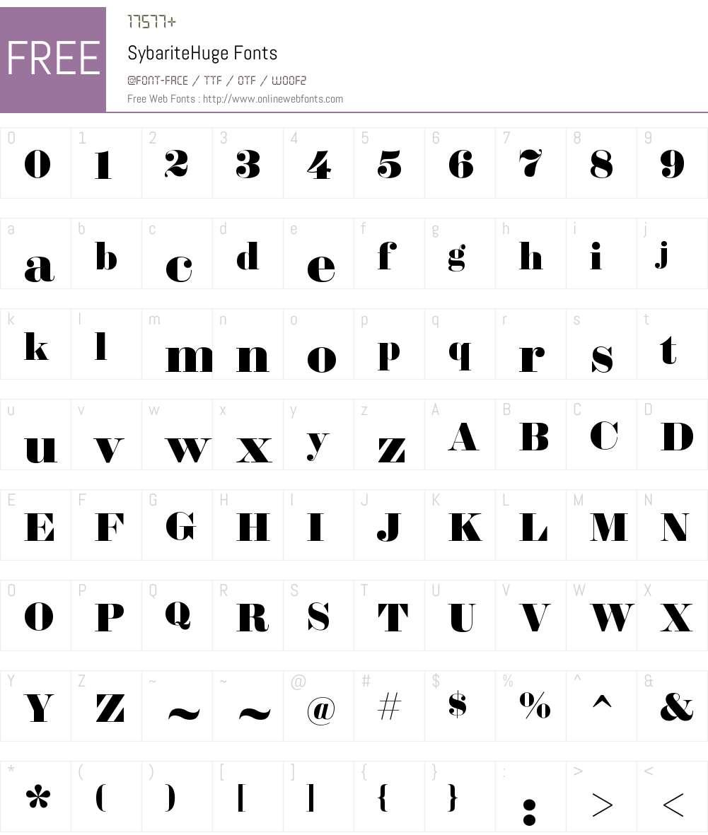 Sybarite Huge Font Screenshots