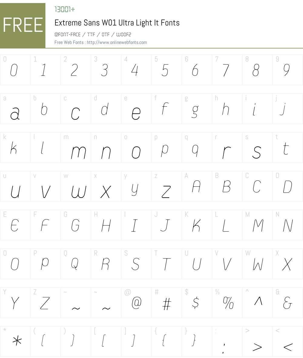 ExtremeSansW01-UltraLightIt Font Screenshots