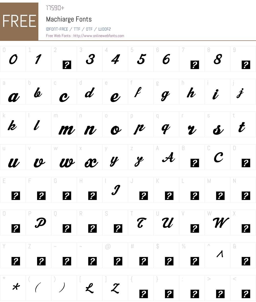 Machiarge Font Screenshots