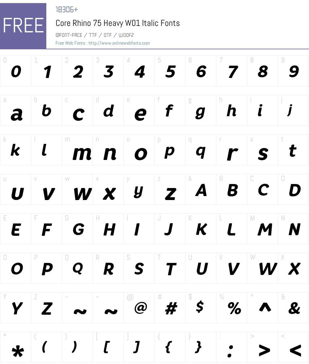 CoreRhino75HeavyW01-Italic Font Screenshots