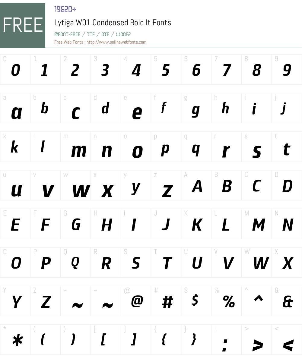 LytigaW01-CondensedBoldIt Font Screenshots