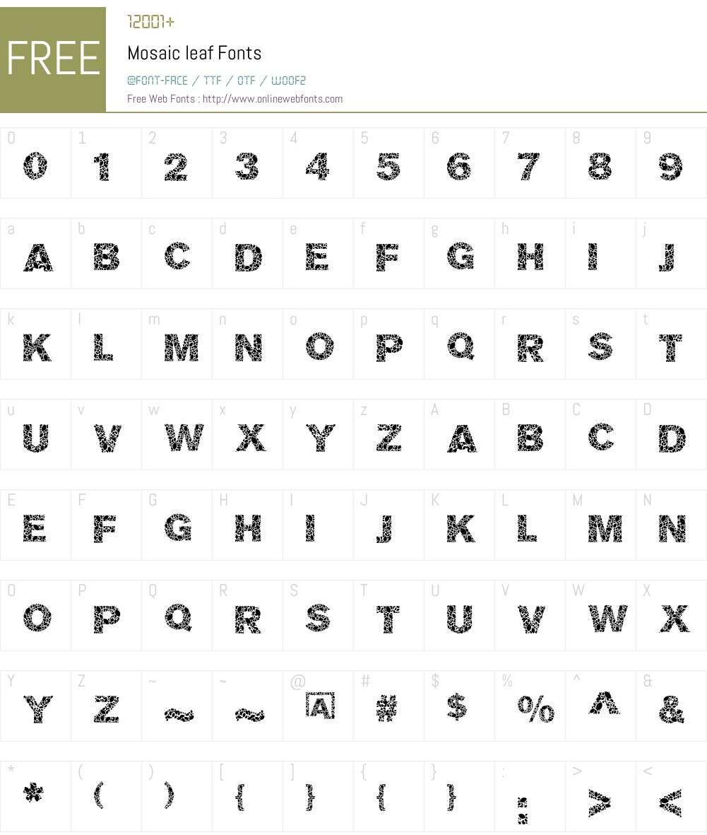 Mosaic leaf Font Screenshots