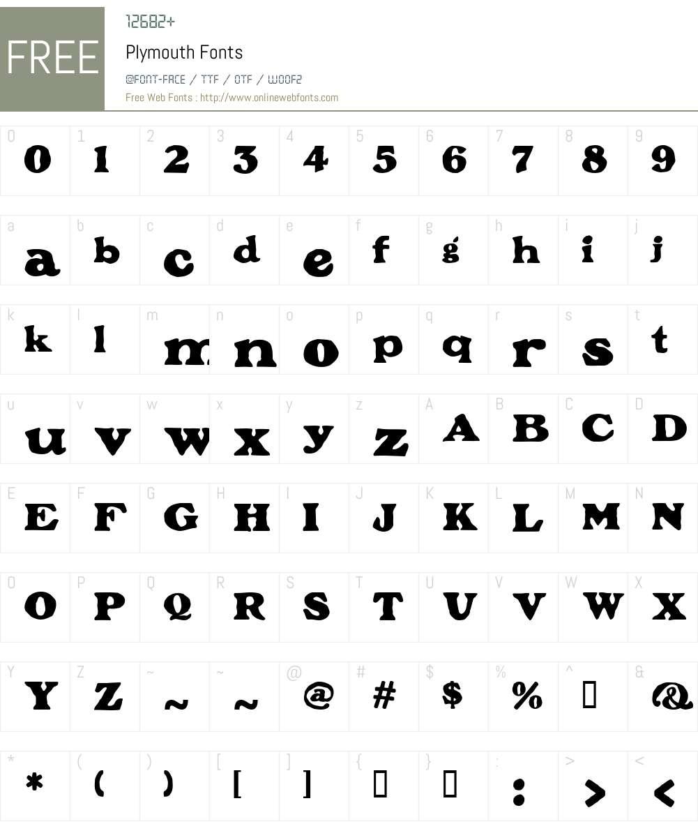 Plymouth Font Screenshots