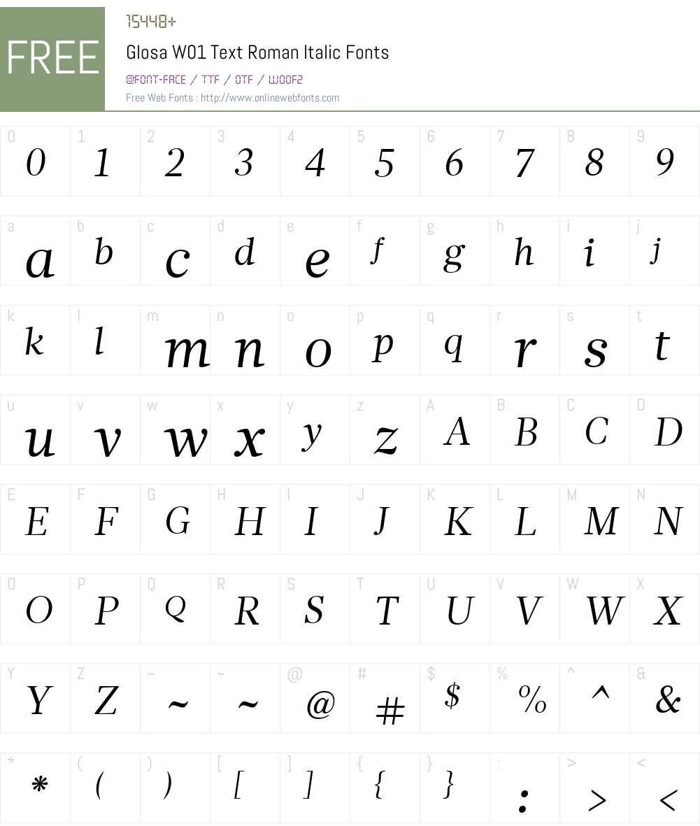GlosaW01-TextRomanItalic Font Screenshots