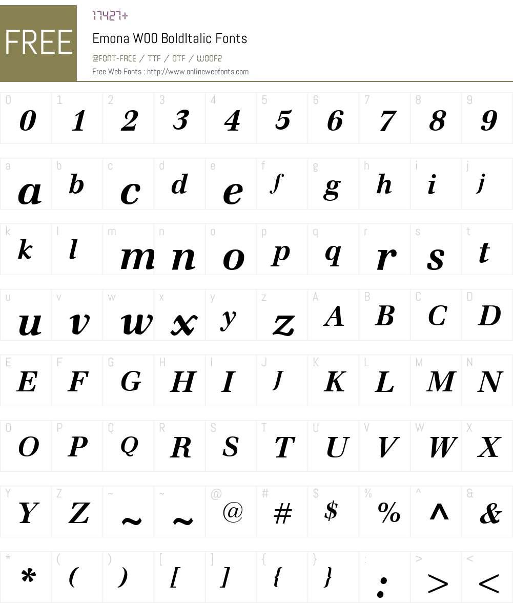EmonaW00-BoldItalic Font Screenshots
