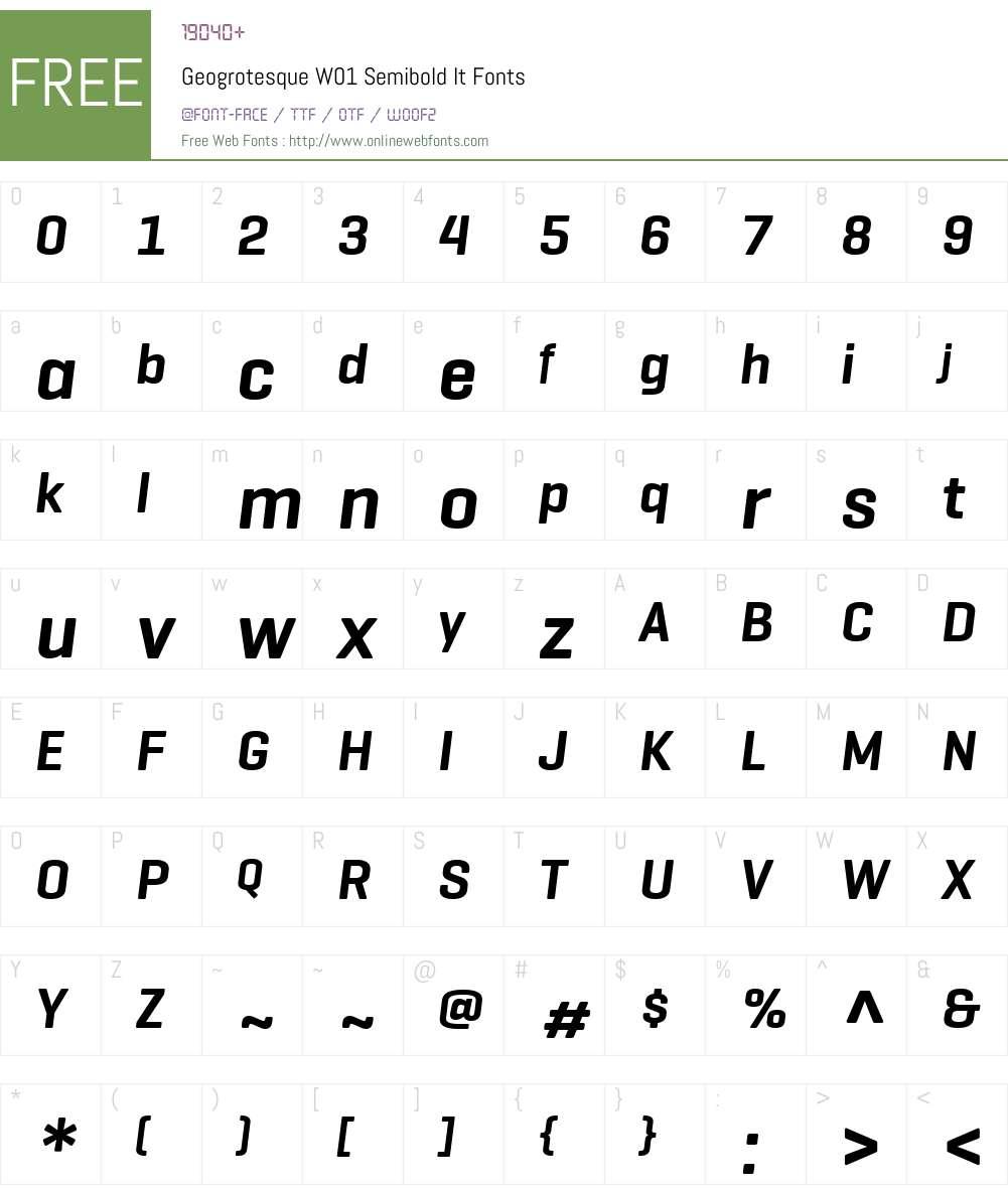 GeogrotesqueW01-SemiboldIt Font Screenshots