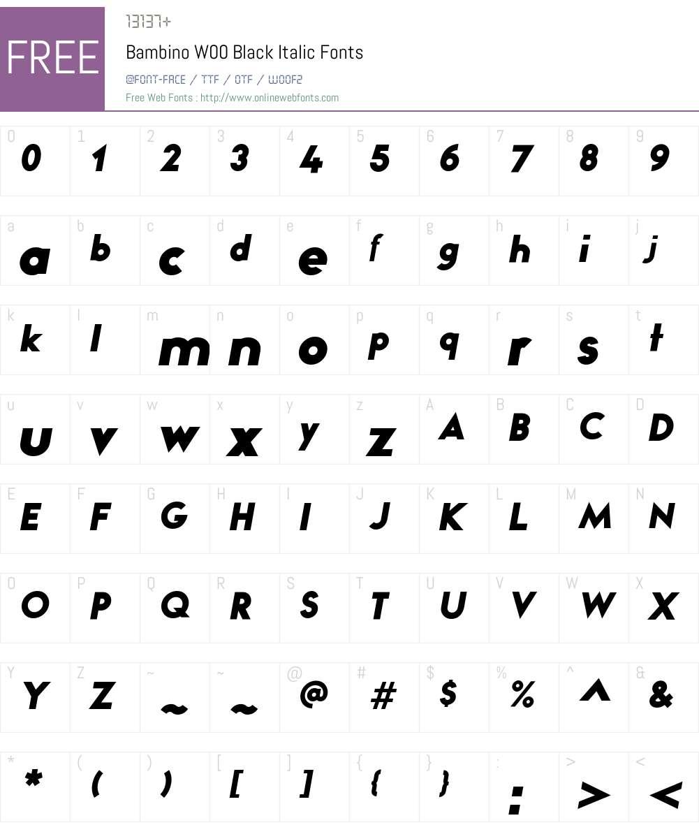 BambinoW00-BlackItalic Font Screenshots