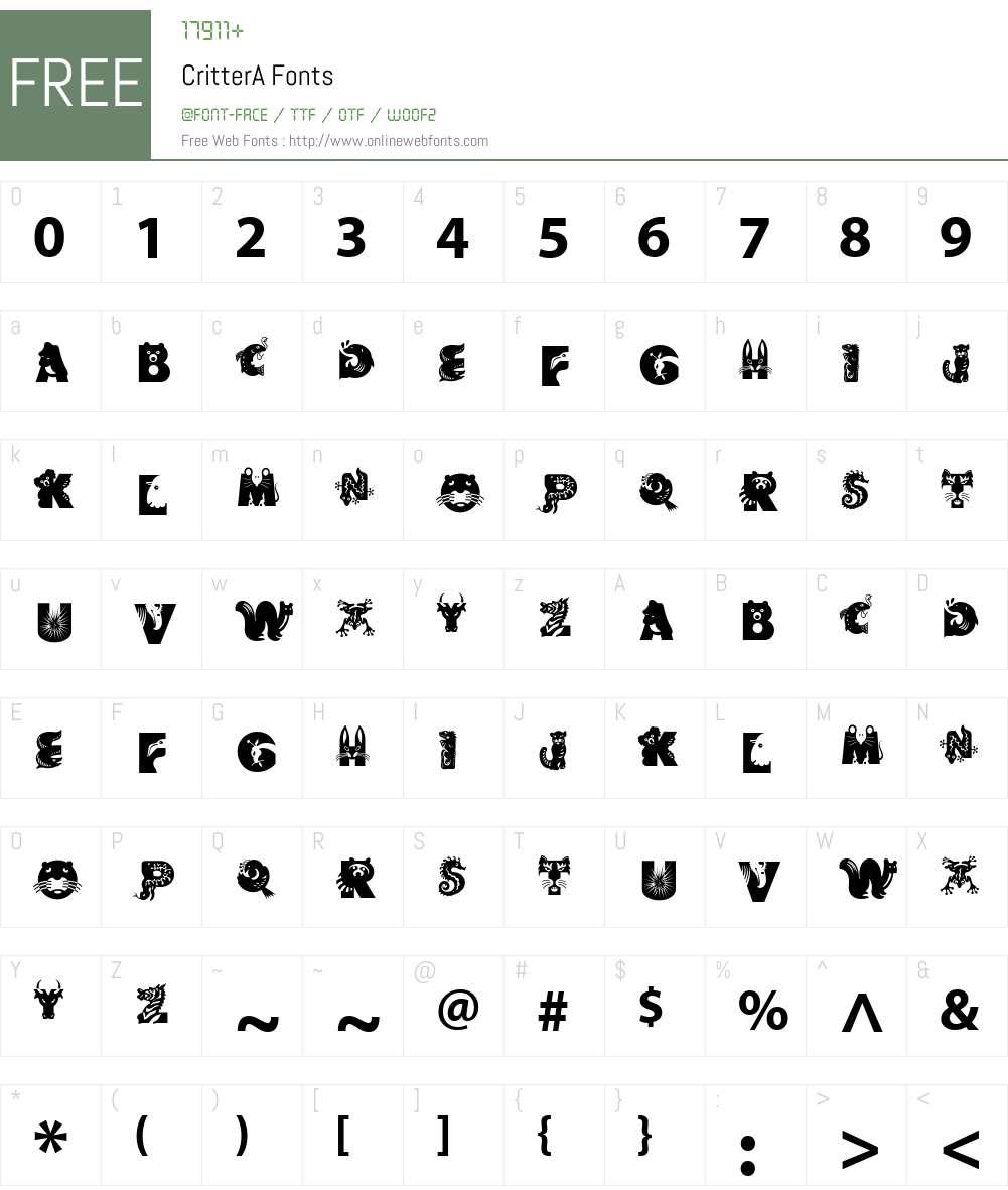 Critter Font Screenshots