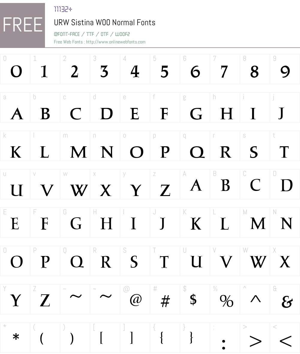 URWSistinaW00-Normal Font Screenshots