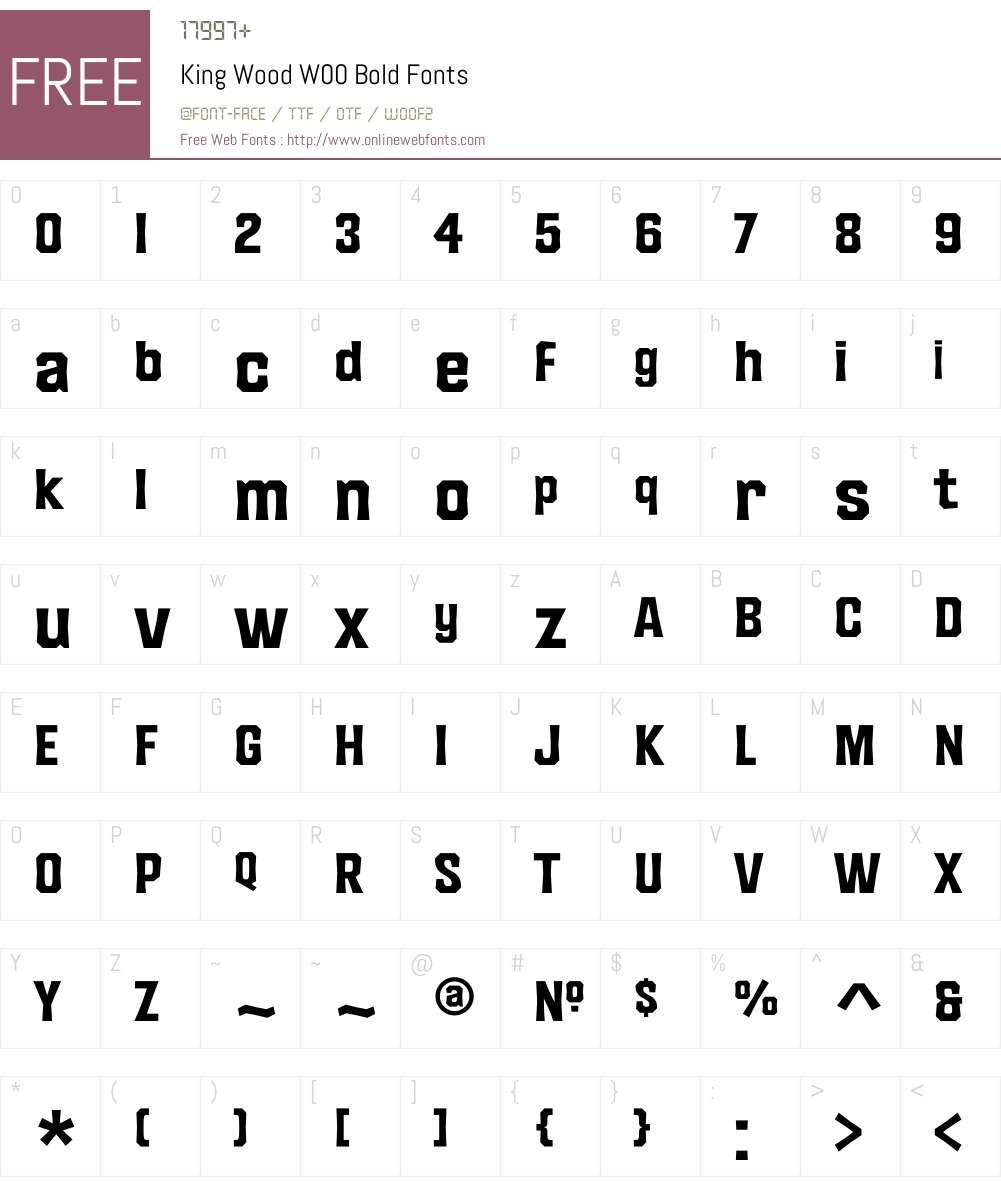 KingWoodW00-Bold Font Screenshots