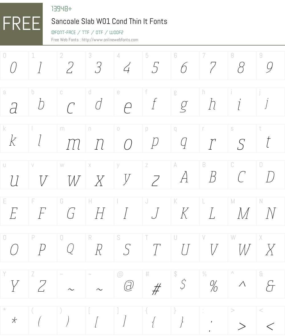 SancoaleSlabW01-CondThinIt Font Screenshots