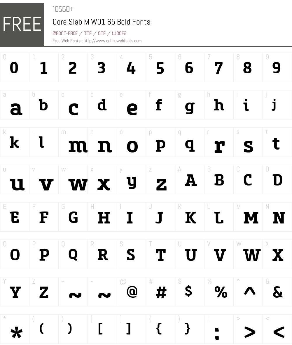 CoreSlabMW01-65Bold Font Screenshots