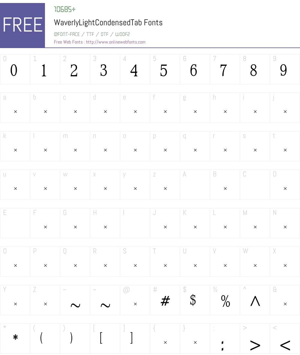 WaverlyLightCondensedTab Font Screenshots