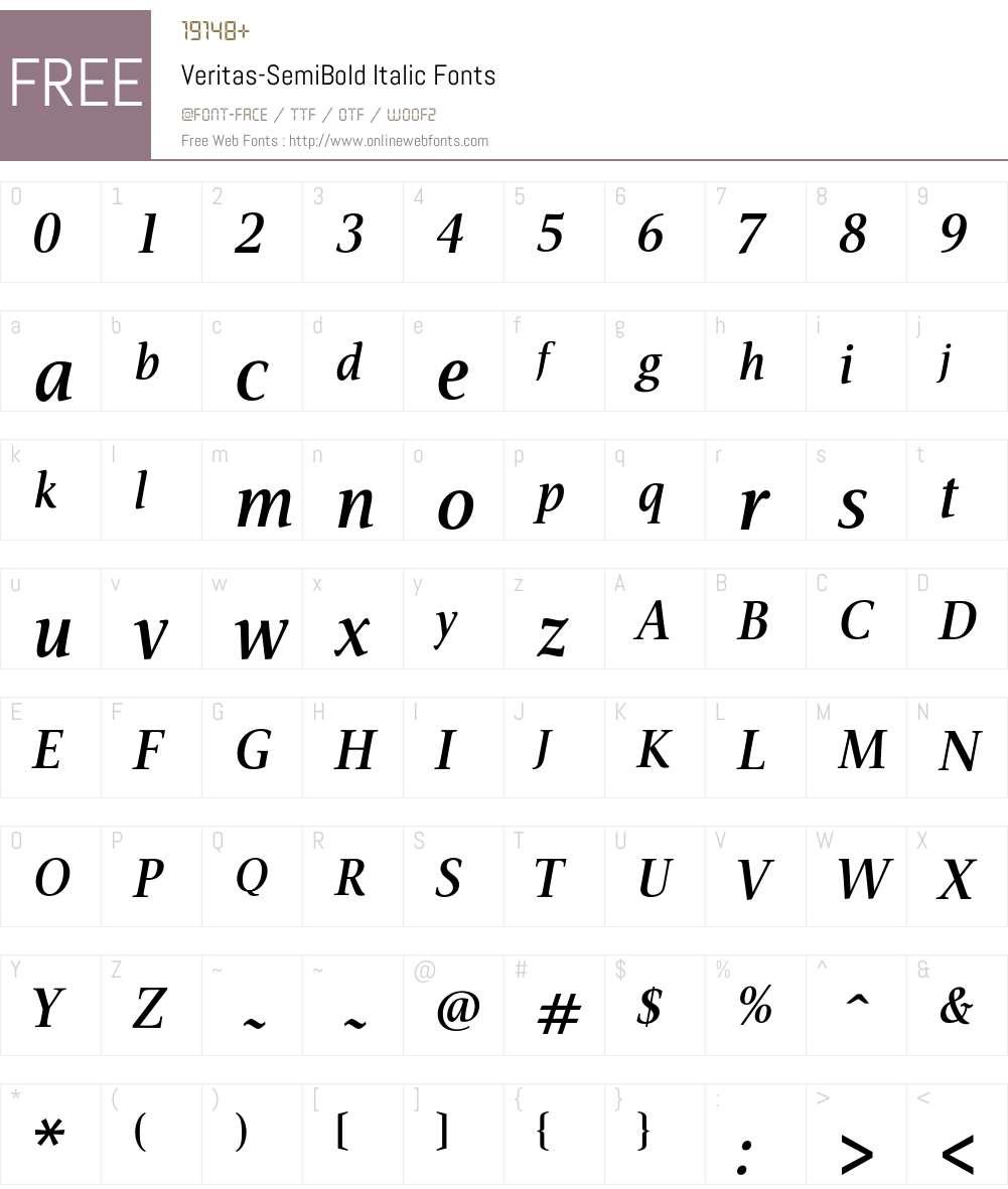 Veritas-SemiBold Font Screenshots