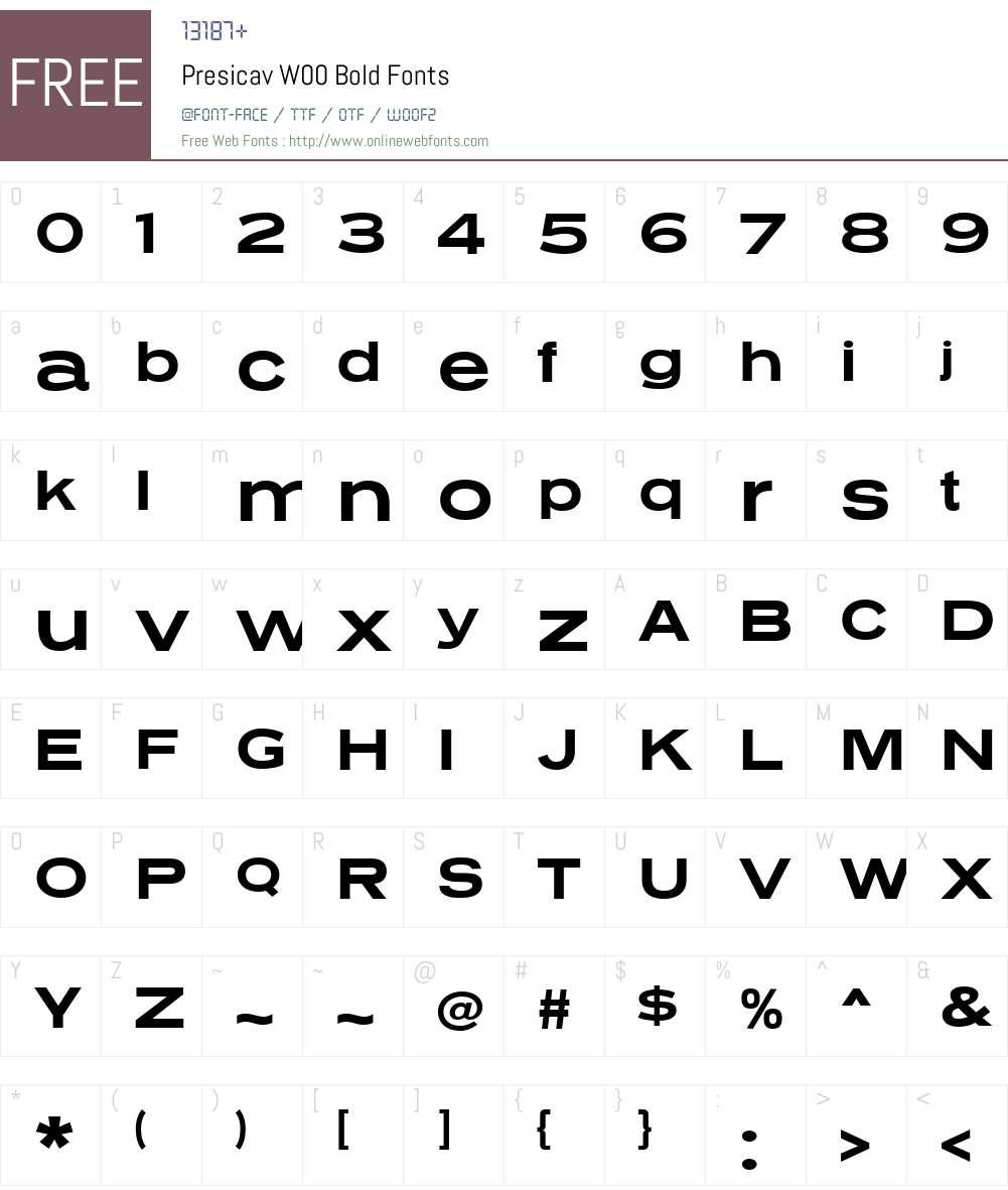 PresicavW00-Bold Font Screenshots