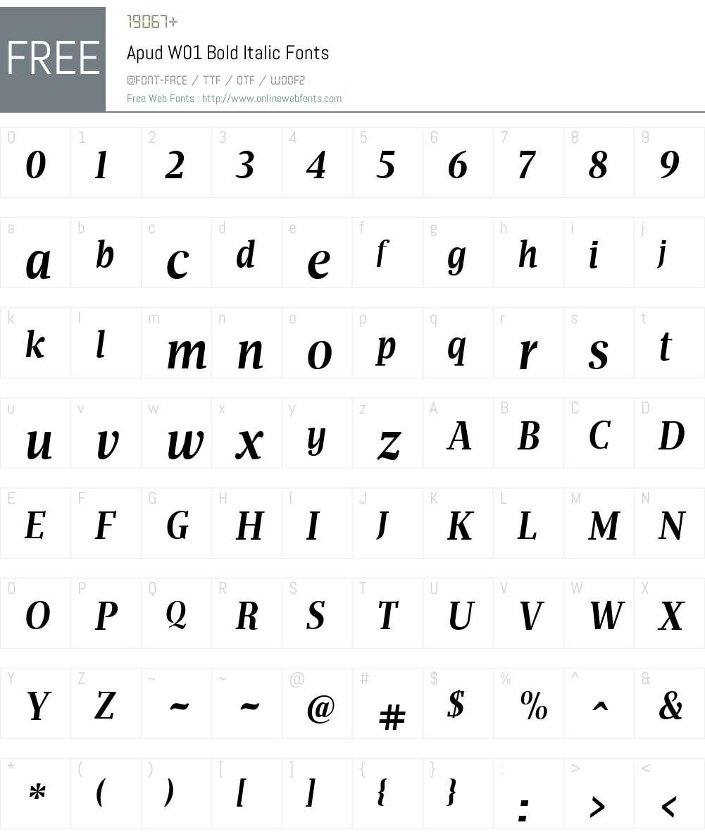 ApudW01-BoldItalic Font Screenshots