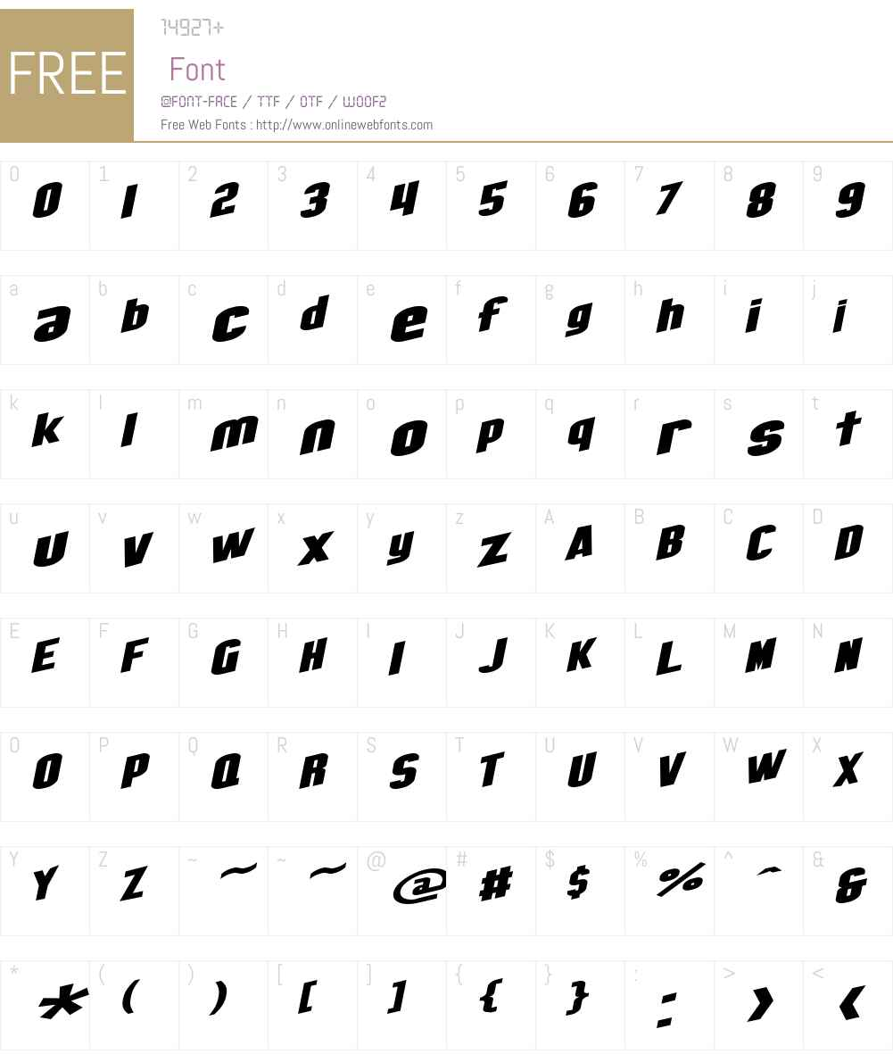 SF Obliquities Extended Font Screenshots