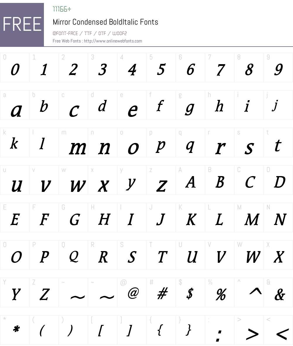 Mirror Condensed Font Screenshots
