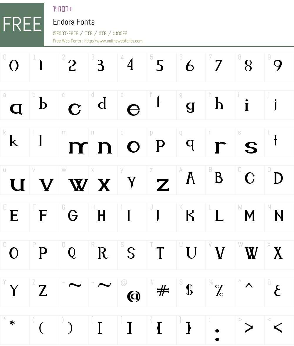 Endora Font Screenshots