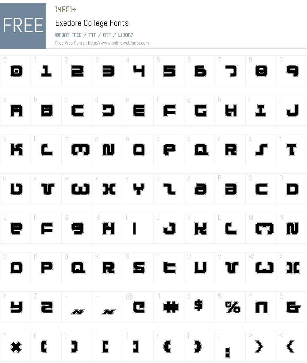 Exedore College Font Screenshots