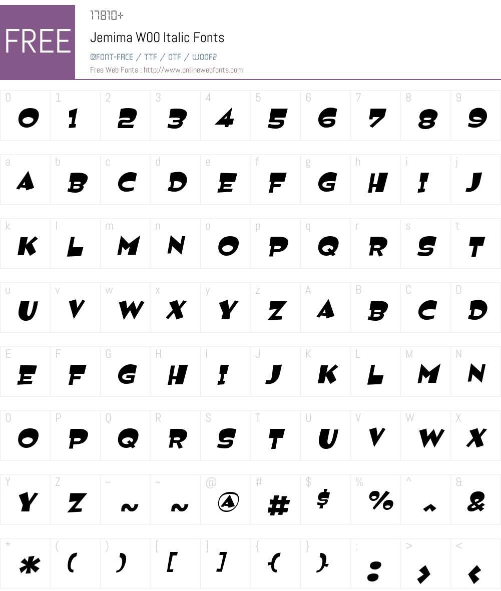 JemimaW00-Italic Font Screenshots