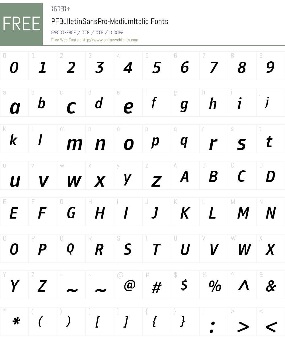 PF Bulletin Sans Pro Font Screenshots