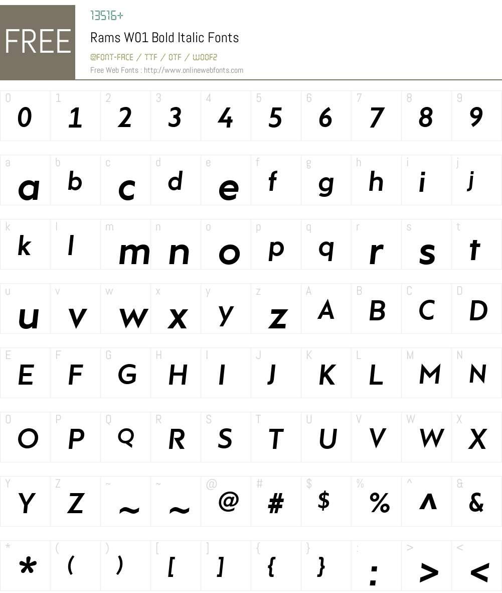 RamsW01-BoldItalic Font Screenshots