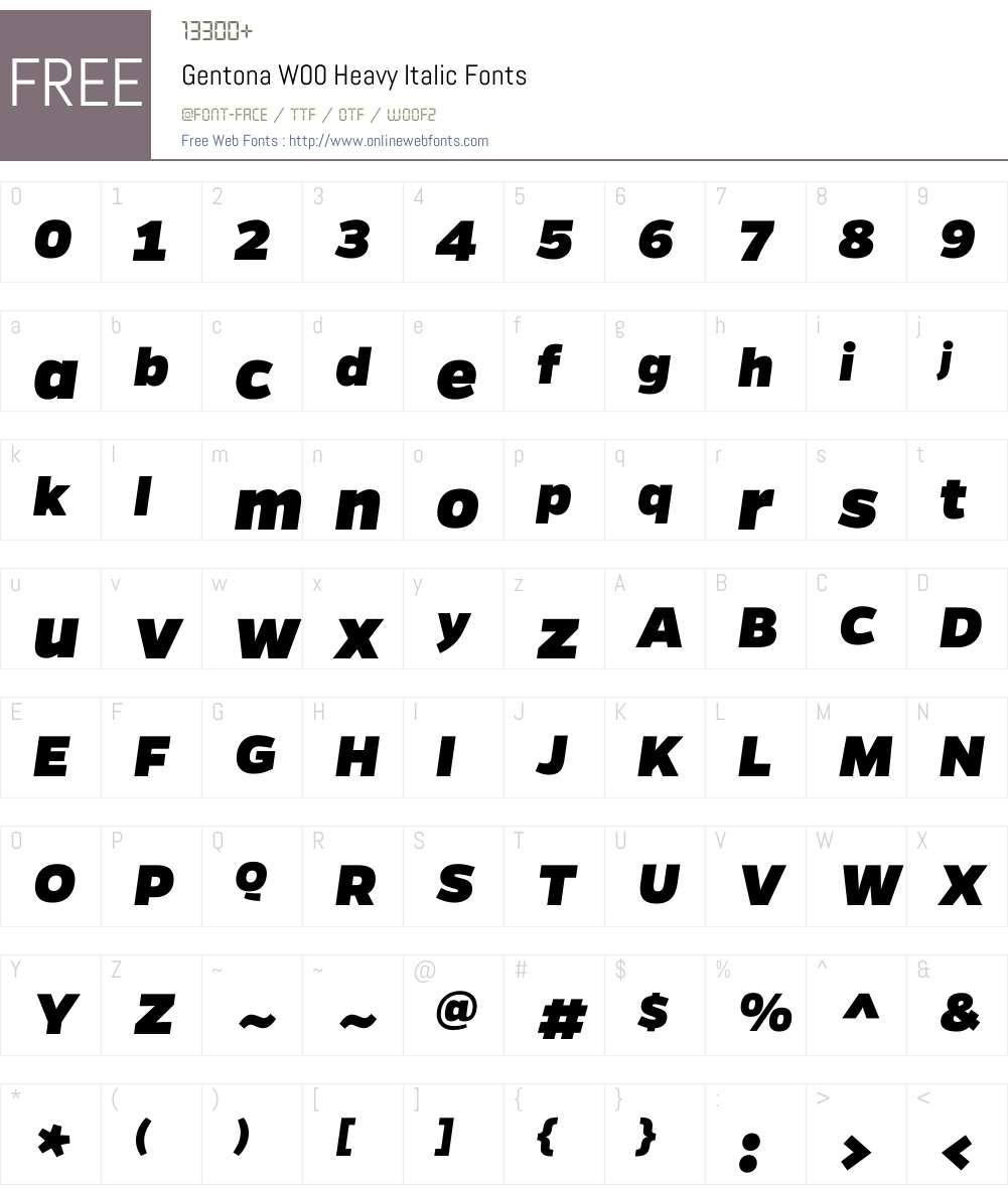 GentonaW00-HeavyItalic Font Screenshots
