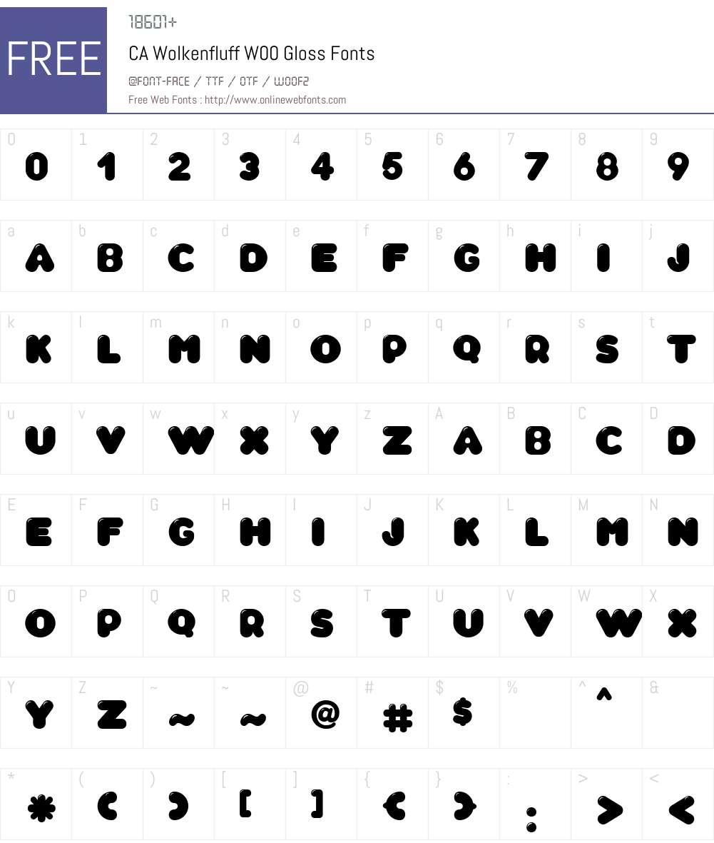 CAWolkenfluffW00-Gloss Font Screenshots