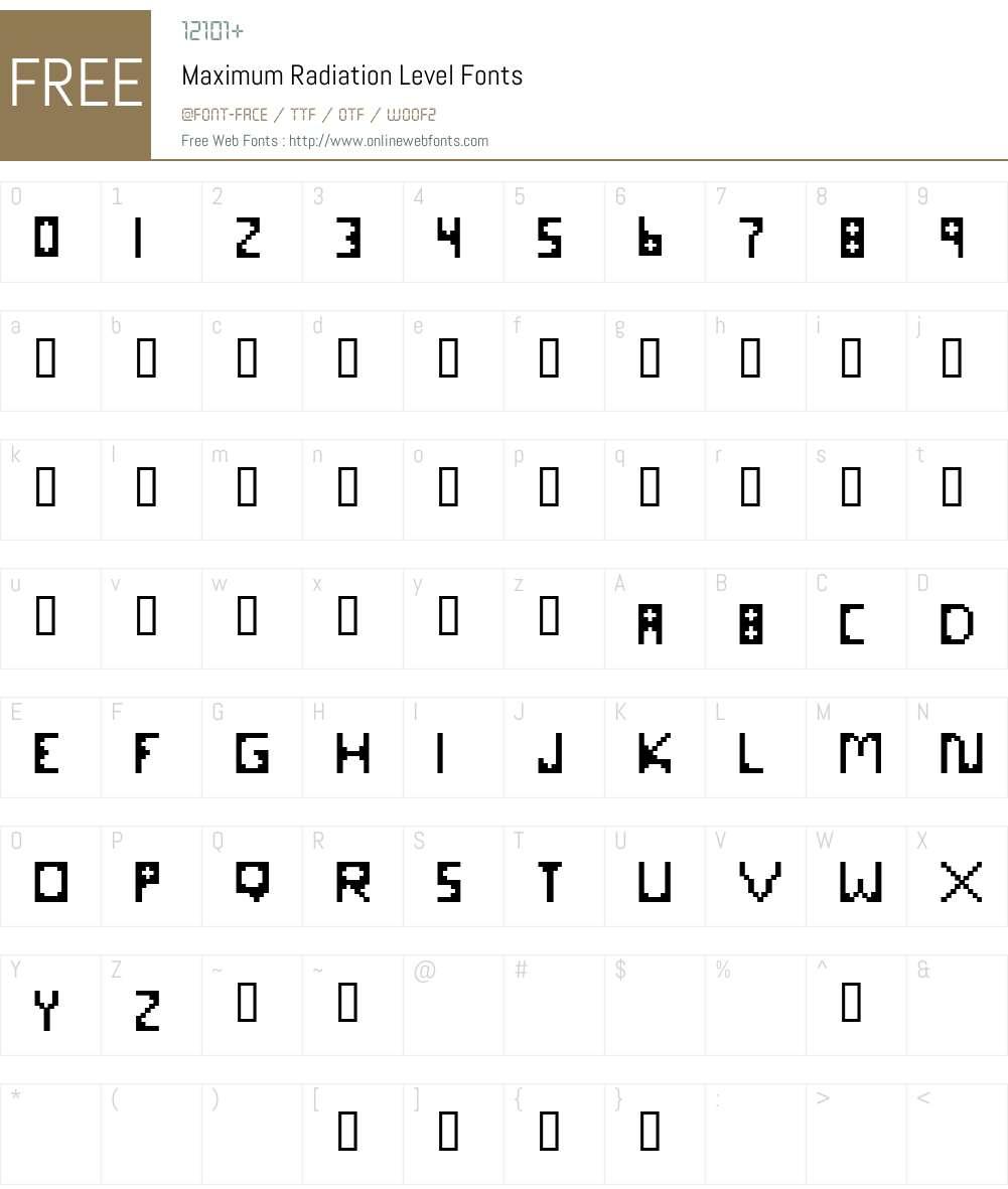 Maximum Radiation Level Font Screenshots