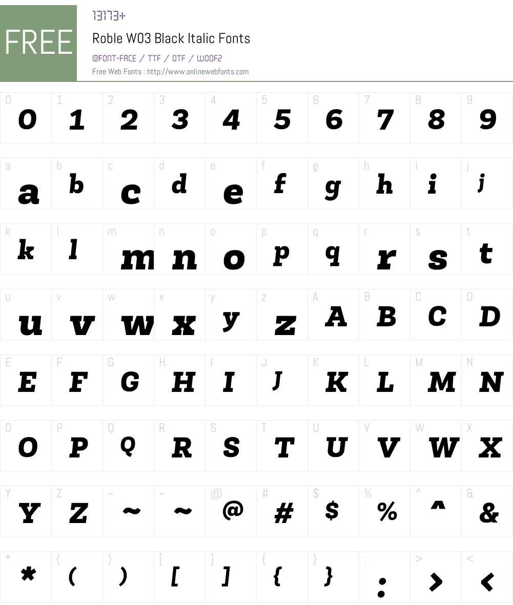 Roble Font Screenshots