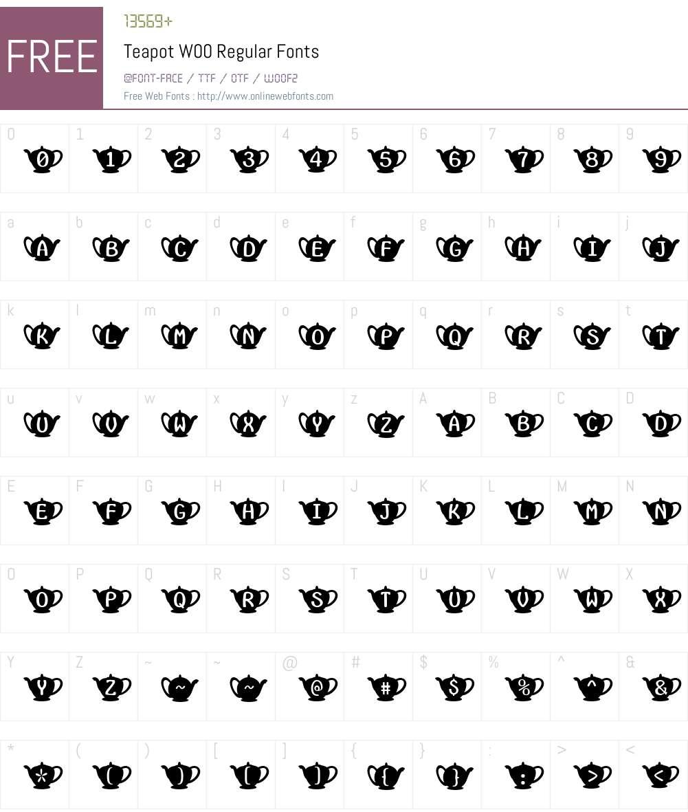 TeapotW00-Regular Font Screenshots