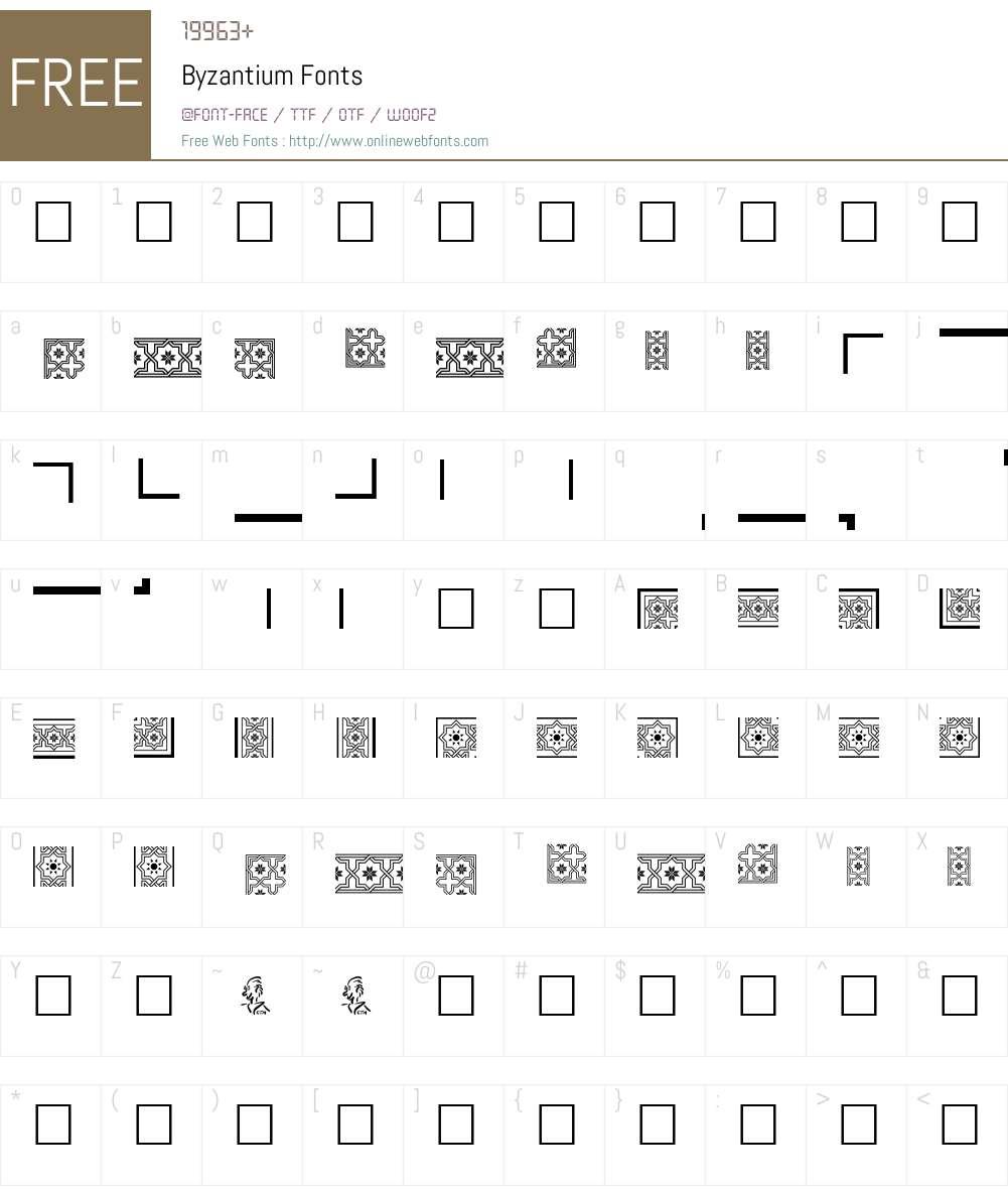 Byzantium Font Screenshots