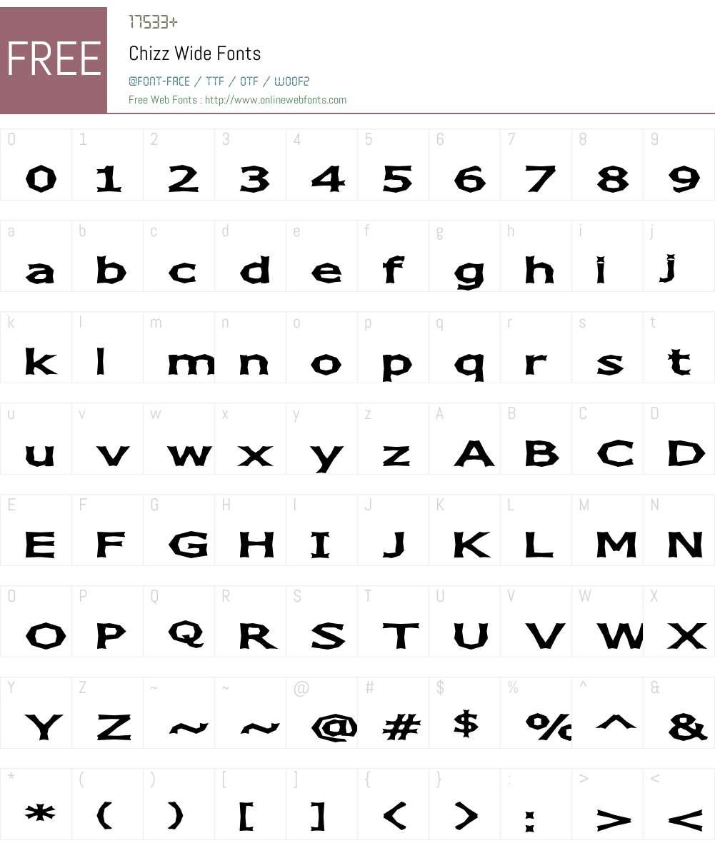 Chizz Wide Font Screenshots