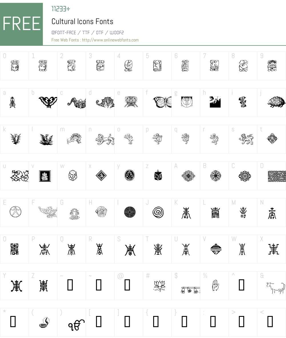 Cultural Icons Font Screenshots