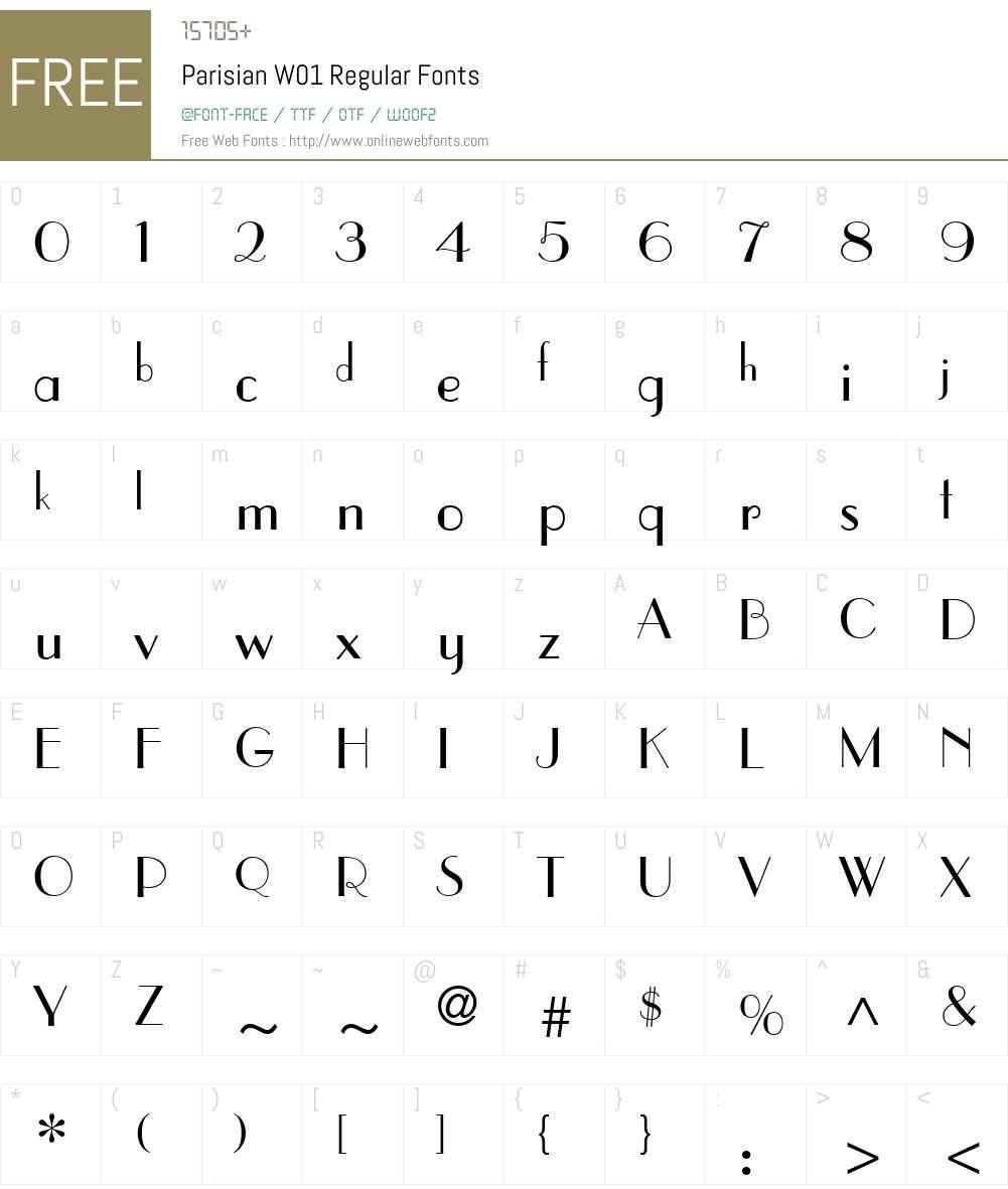 ParisianW01-Regular Font Screenshots