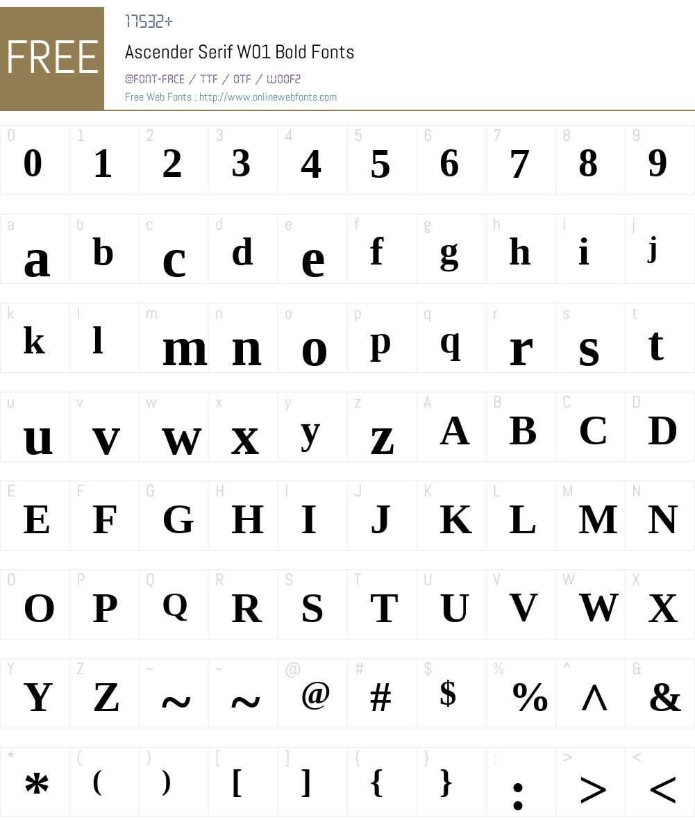 AscenderSerifW01-Bold Font Screenshots